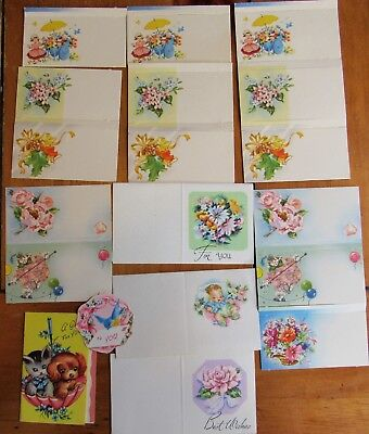 Lot of 18 Adorable Vintage 40s 50s Gift Card Greeting Tags Birthday Baby Wedding