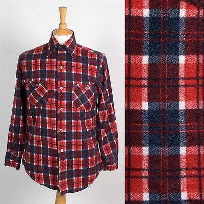 Mens Vintage 70's Seventies Flannel Shirt Pointy Collar Plaid Check Mod Retro S
