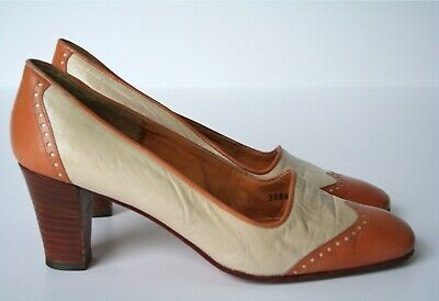 Vintage Shoes - Co-respondent / Spectator - Cream / Brown Leather - UK 4 / 4.5