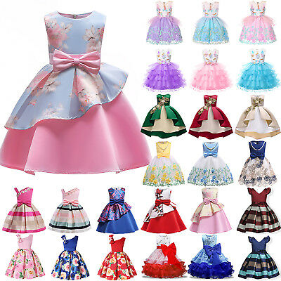 Flowers Kids Baby Girls Princess Dress Wedding Bridesmaid Pageant Party Dresses