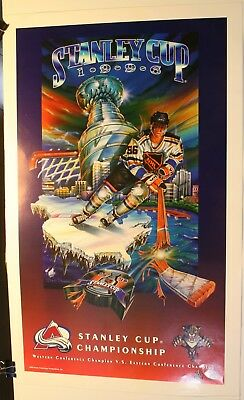 """1996 Stanley Cup Colorado Avalanche vs. Florida Panthers 27 1/2 x 17"""" Poster NHL"""