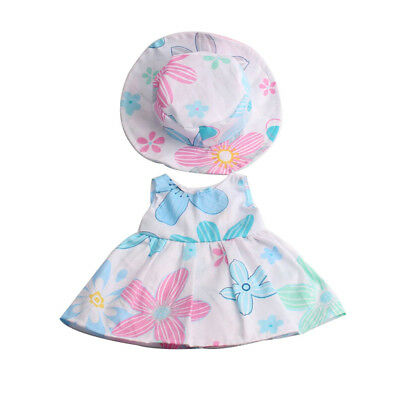 Doll Clothes Flower Dress with Hat Suit Outfit for 18inch American Girl