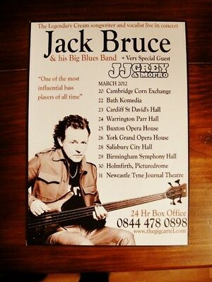 JACK BRUCE and his BIG BLUES BAND A5 flyer - UK TOUR 2012. ex CREAM, TRAFFIC