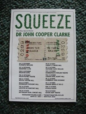 Squeeze A5 Flyer - 2015 From The Cradle To The Grave Tour / John Cooper Clarke