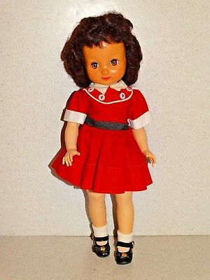 "American Character VINTAGE 1950s Brunette 14"" BETSY McCALL Doll w/RED Outfit!"