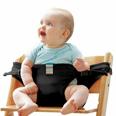 Portable Baby Travel High Chair Safety Seat Strap Harness Belt for Kids (Black)