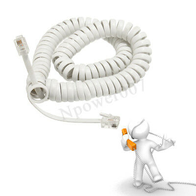 2M Telephone Handset Cable Curly Cord RJ10 Coiled Phone Lead Extension