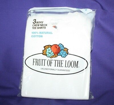 Vintage 1978 FRUIT OF THE LOOM White Crew T SHIRT 3 PACK Boys Size 10 USA