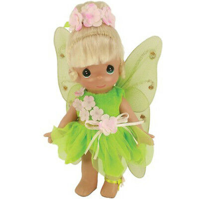 New PRECIOUS MOMENTS DISNEY Vinyl Doll TINKERBELL PINK FLOWER Green Costume Wing