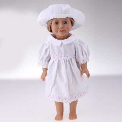 Stylish Flower Dress with Hat Outfit for 18inch American Girl Dolls Clothes