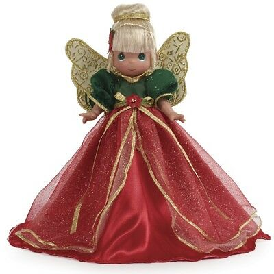 New PRECIOUS MOMENTS Vinyl Doll CHRISTMAS TREE TOPPER Red Green Gold ANGEL CONE