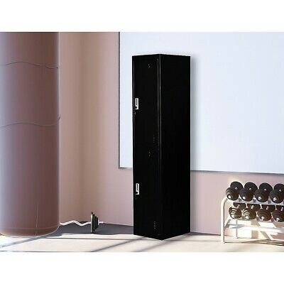 Vertical Two-Door Locker for Office Gym Shed School Home Storage with Locks