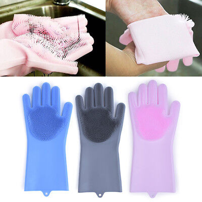 Pair Magic Silicone Rubber Dish Washing Gloves Scrubber Cleaning Sponge Kitchen