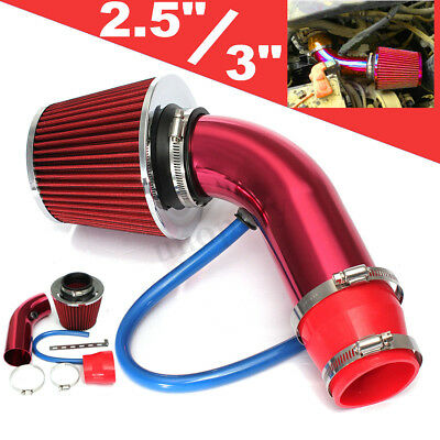 2.5'' 3.0'' Universal Cold Air Intake Induction Hose Pipe Kit System Filter Red