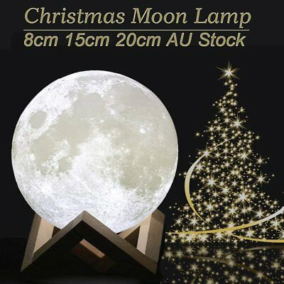 Dimmable 3D Magical Moon Lamp USB LED Moonlight Touch Sensor Night Light Gift