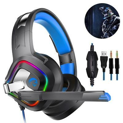 Casque de jeu Gamer Gaming MIC Basse Stéréo LED pour PC Mac Laptop PS 4 Xbox One