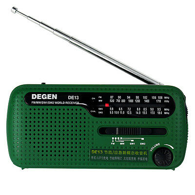 DEGEN DE13 FM MW SW Crank Dynamo Solar Emergency Radio World Band Receiver TOP