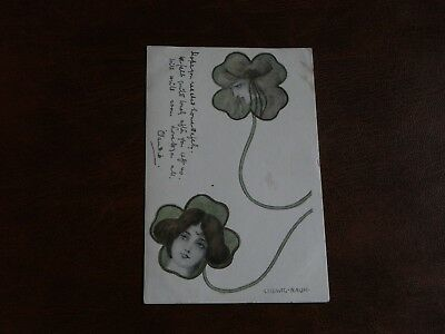 Original Ludwig Rauh Signed Art Nouveau Glamour Postcard - Women In Leaves.