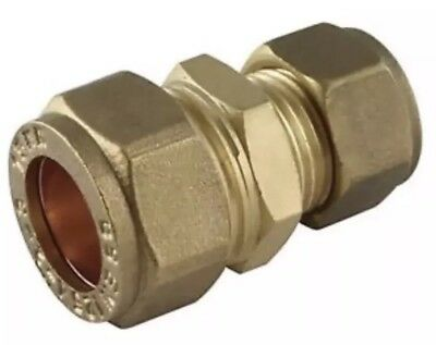 Brass REDUCING Straight Coupler - Compression Fitting - 15mm x 12mm - QTY 5