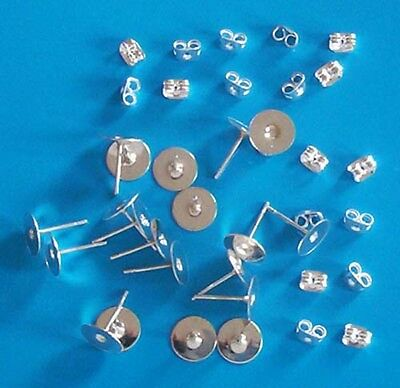 10 pairs of SP 8mm flat pad earring posts, incl scrolls, findings for jewellery