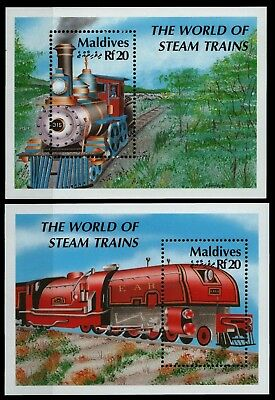 Malediven 1990 - Mi-Nr. Block 179-180 ** - MNH - Lokomotiven / Locomotives