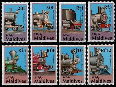 Malediven 1990 - Mi-Nr. 1478-1485 ** - MNH - Lokomotiven / Locomotives