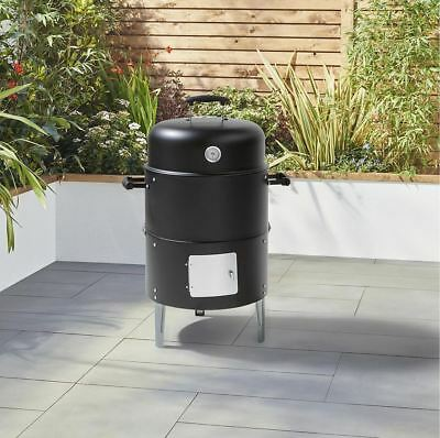 Tesco Dual Smoker And Charcoal Bullet BBQ With Built-in Thermometer Damage Box