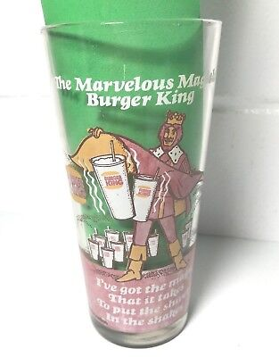 "1978 The Marvelous Magical BURGER KING Glass SHIVER in the SHAKE 6.5"" Tall cup"