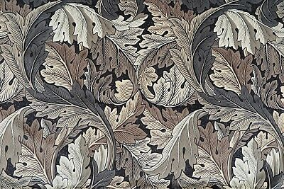 WILLIAM MORRIS CURTAIN FABRIC DESIGN Acanthus Velvet 1 METRES CHARCOAL/GREY