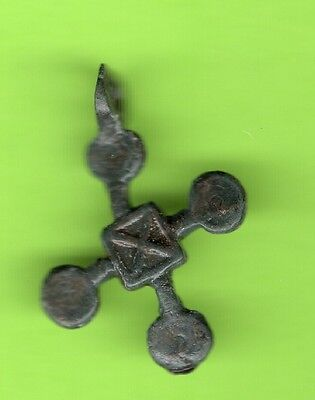 Russia Kiev type Bronze Cross Pendant Viking time 10-12th ca 1100 AD RARE 11
