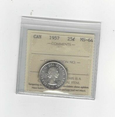 **1957**, ICCS Graded Canadian, 25 Cent, **MS-64**