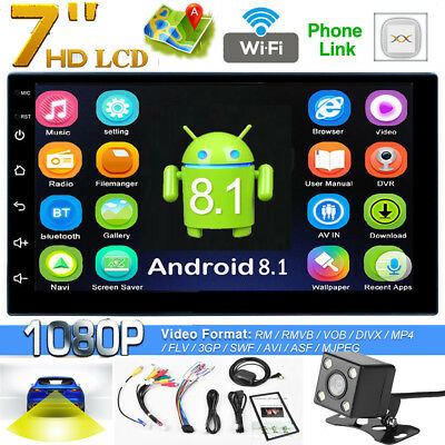 7in WiFi 2Din Quad-Core Android 8.1 Car Stereo MP5 Player GPS AM FM BT w/ Camera