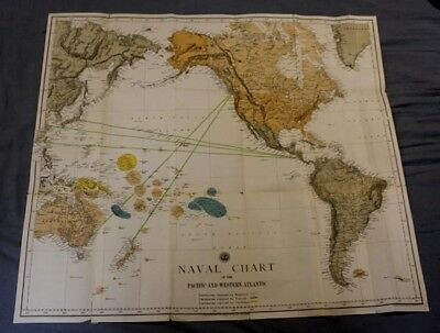 Circa 1892 Color US Navy Map of the Pacific and Western Western Atlantic Oceans