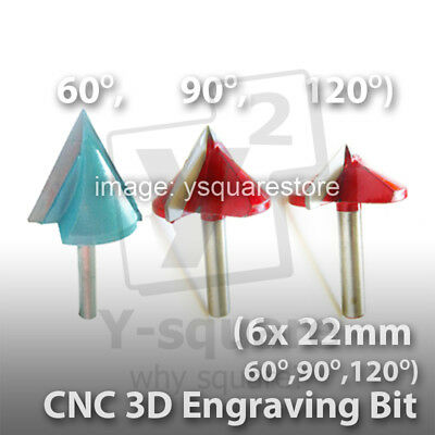 """1/4"""" 6 x 22mm 60 /90° Engraving 3D Bits Router PCB CNC Engraver V Groove Acrylic"""