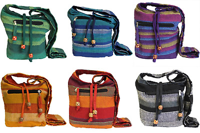 Nepal Sling Shoulder Bag - 100% Pure Cotton Fabric, Free P&P
