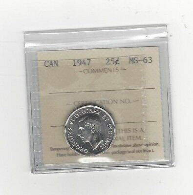 """**1947**ICCS Graded Canadian, 25 Cent, **MS-63**""""Unusual Dot"""""""