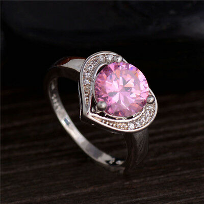 Pink Cubic Zirconia Love Heart Jewelry Lady Silver Plated Wedding Ring Size 7-9