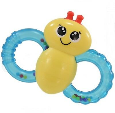 Babies Newborn Rattle Bee Teether Soothing Easy Grip Textured Activity Toy 3mth+