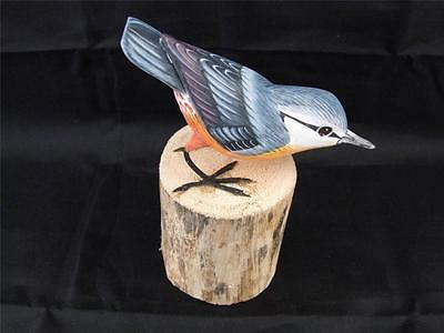 Superb Hand Carved and Hand Painted Wooden Nuthatch English Garden Bird.