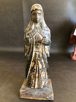 RARE Antique Santos Statue Mary Blessed Mother Spanish Colonial Carved Wood