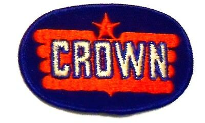 "Crown Gasoline Patch Embroidered Oil 3-1/4"" inches  vintage"