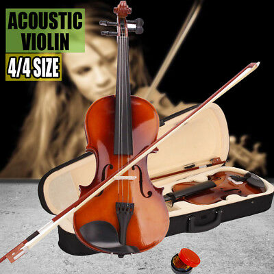 4/4 Full Size Natural Acoustic Student Violin Fiddle Varnish+Case+Bow+Rosin