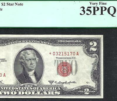 1953B $2 RED Seal **STAR** PCGS CHOICE VF 35PPQ! Old US Paper Money!