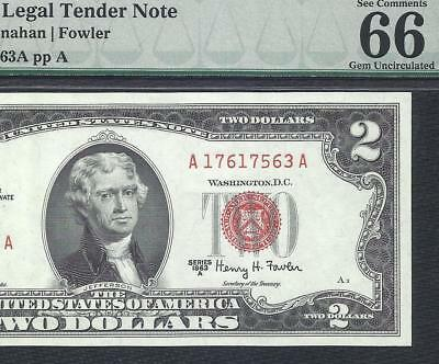 1963A $2 RED Seal PMG GEM UNCIRCULATED 66EPQ! Old US Paper Money!