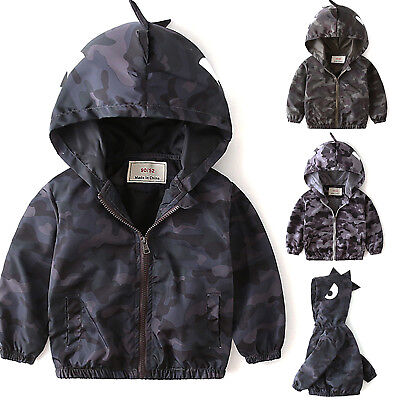 Kids Boys Camo Coat Hoodie Zip Clothes Outfits Tops Winter Casual Jacket Outwear