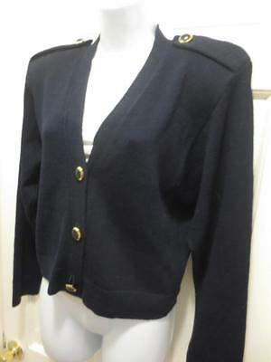 ST. JOHN By MARIE GRAY Navy BLUE Shoulder Tab Santana Knit JACKET Blazer Medium