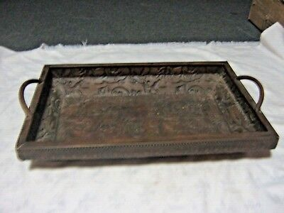 An Antique Pressed Stamp Copper Art Nouveau Sided Handled Serving Tray