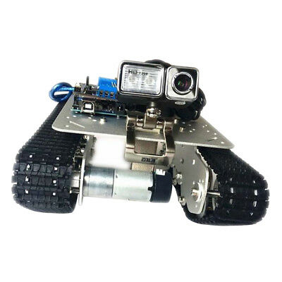 Silver Smart Robot Car Tank Chassis Kit Aluminum Alloy with Camera