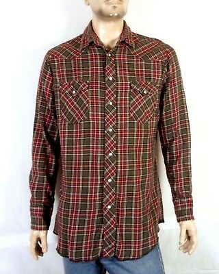 vtg 80s 90s Wrangler Gray/Red Flannel Plaid Western Shirt Pearl Snap L tall