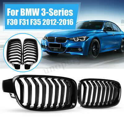 Pair Gloss Black Front Kidney Grille Grill For BMW F30 F31 F35 F80 2012-2017